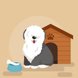 Happy Dog kennel, house with bone and bowl of food Royalty Free Stock Images
