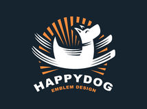Happy dog logo - vector illustration, emblem on dark background Stock Image