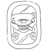 A happy dog, looking through the airplane window tongue out. Isolated vector illustration.  Royalty Free Stock Image