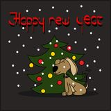 Happy dog near the Christmas tree greeting card. Vector Royalty Free Stock Images