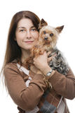 Happy dog and owner Royalty Free Stock Image