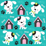 Happy dog pattern with paw print and bone  illustr Royalty Free Stock Photography