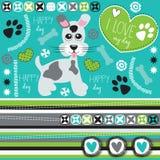 Happy dog with paw print and bone  illustrat Stock Image