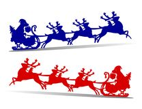 Happy dog in sleigh rushing fast for the new year, harnessed in Stock Images