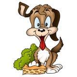 Happy dog with sponge. Dog with sponge 2 - High detailed and coloured illustration - Happy dog stock illustration