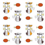 Happy dogs with bone seamless pattern. Stock Image