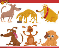 Happy dogs cartoon illustration set Stock Images