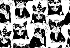 Happy dogs group French bulldog black seamless pattern. Stock Photos