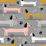 Colorful seamless pattern with animals. Happy cute dachshunds royalty free illustration