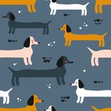 Happy dogs, seamless pattern. Decorative cute wallpaper with dachshunds royalty free illustration