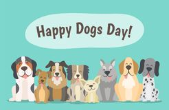 Happy dogs pack celebrating Dogs Day. Happy dogs day concept. Pack of happy dogs sitting in front view position. Cartoon vector illustration Royalty Free Stock Photo