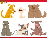 Happy dogs or puppies cartoon characters Stock Image