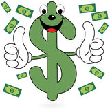 Happy Dollar symbol. Illustration of happy cartoon dollar sign with thumbs up Royalty Free Stock Photos