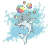 Happy dolphin cartoon Royalty Free Stock Images