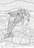 Happy dolphin with high details. Adult antistress coloring page. Black white doodle with underwater oceanic animal for art therapy. Sketch for tattoo, poster Stock Images
