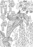 Happy dolphin with high details. Adult antistress coloring page. Black white hand drawn doodle oceanic animal for art therapy. Sketch for cover, poster, print Royalty Free Stock Photography