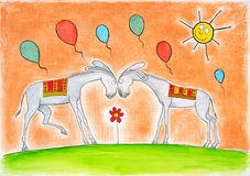 Happy donkeys with balloons, childs drawing, water. Color painting on canvas paper Royalty Free Stock Photos