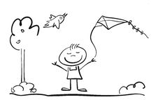 Happy doodle Child plays with Kite Royalty Free Stock Image
