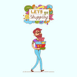 Happy doodle Consumer with a full shopping bags in shop. Shopper. Sales. Funny cartoon character. Vector illustration. Isolated on Stock Photo
