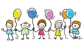 Happy doodle kids with balloons Royalty Free Stock Photos