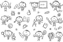 Kids with School Things stock illustration
