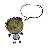 Happy doodle woman with speech bubble Royalty Free Stock Photography