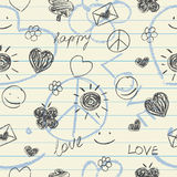 Happy doodles seamless pattern Stock Image