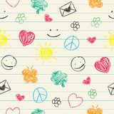 Happy doodles seamless pattern Royalty Free Stock Image