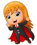 Happy dracula cartoon waving hand Stock Image