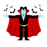 Happy Dracula in red mantle. Good cheerful vampire. ghoul and ba Royalty Free Stock Photo