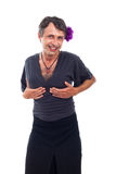 Happy drag queen holding his breasts Stock Photo