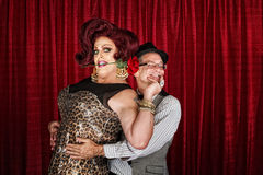 Happy Drag Queen with Partner Stock Images