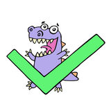 Happy dragon and big green tick. Vector illustration. royalty free stock photography