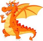 Happy dragon cartoon waving hand Stock Images