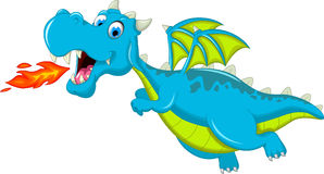 Happy dragon flying cartoon with fire Stock Photo