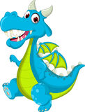 Happy dragon flying cartoon running Royalty Free Stock Photos