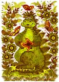 Happy Dragon. Hand drawn, , illustration in Ukrainian folk style Royalty Free Stock Images
