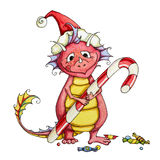 Happy dragon kid with a big candy. Happy dragon kid has just got the biggest candy as a gift royalty free illustration