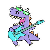 Happy dragon playing the electric guitar in black glasses. Vector illustration. stock image