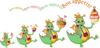 Happy dragons with cupcakes wish bon appetit. Royalty Free Stock Photos