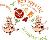 Happy dragons wish bon appetit. Beautiful card with healthy food Royalty Free Stock Photo
