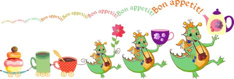 Happy dragons wish bon appetit. Cute card with dragons, teacups and cupcake train. Stock Photo