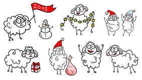 Happy drawn New Year 2015 sheeps. Happy drawn festive sheeps, New year 2015, isolated stock illustration