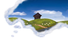 Happy dream. Cloud field with the cottage Stock Images