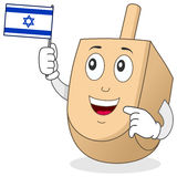 Happy Dreidel Character with Israeli Flag stock image