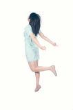 Happy dress woman jumping  on white background Royalty Free Stock Image