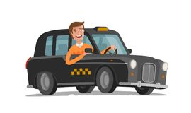 Happy driver is driving taxi. Passenger transportation, car, vehicle concept. Cartoon vector illustration. On white background Stock Photos