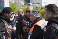 Happy driver riding Harley Davidson. Antalya, Turkey - May 21, 2017: Antalya, Harley Davidson motor convoys on the road. Festival name is Antalya Rally, Demo Royalty Free Stock Photos