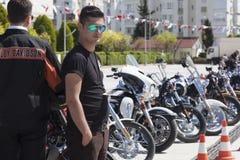 Happy driver riding Harley Davidson. Antalya, Turkey - May 21, 2017: Antalya, Harley Davidson motor convoys on the road. Festival name is Antalya Rally, Demo Stock Images