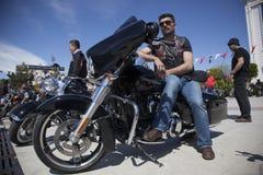 Happy driver riding Harley Davidson. Antalya, Turkey - May 21, 2017: Antalya, Harley Davidson motor convoys on the road. Festival name is Antalya Rally, Demo Stock Photography